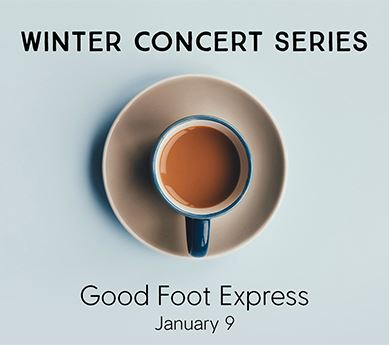Coffee cup titled Winter Concert Series: Good Foot Express, January 9