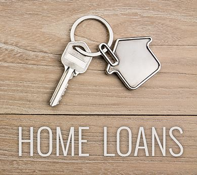 House-shaped key ring titled Home Loans