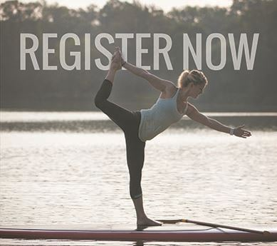 Register Now with a woman in a yoga pose on a paddleboard