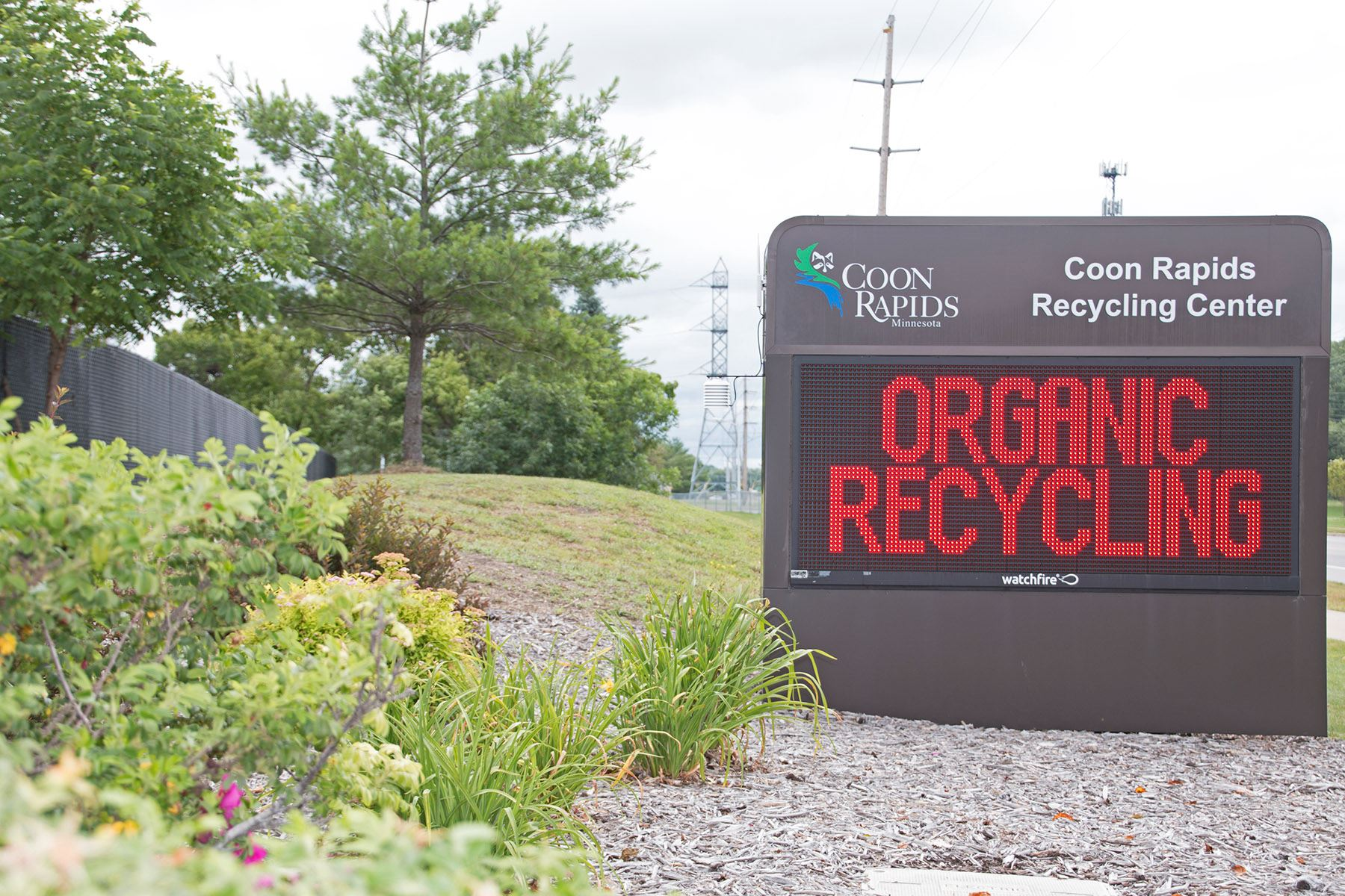 Coon Rapids Recycling Center Roadside Sign