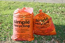 simple recycling orange bag