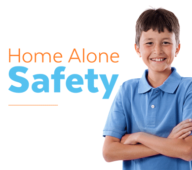 A boy smiling next to the Home Alone Safety logo